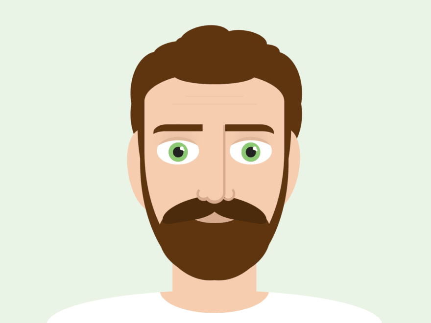 Cartoon of a bearded man with green eyes