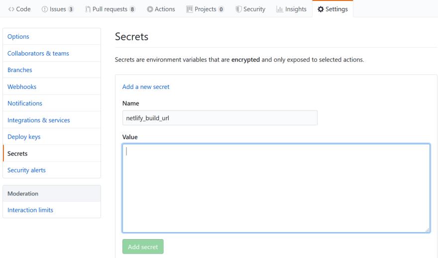 Storing a secret in GitHub