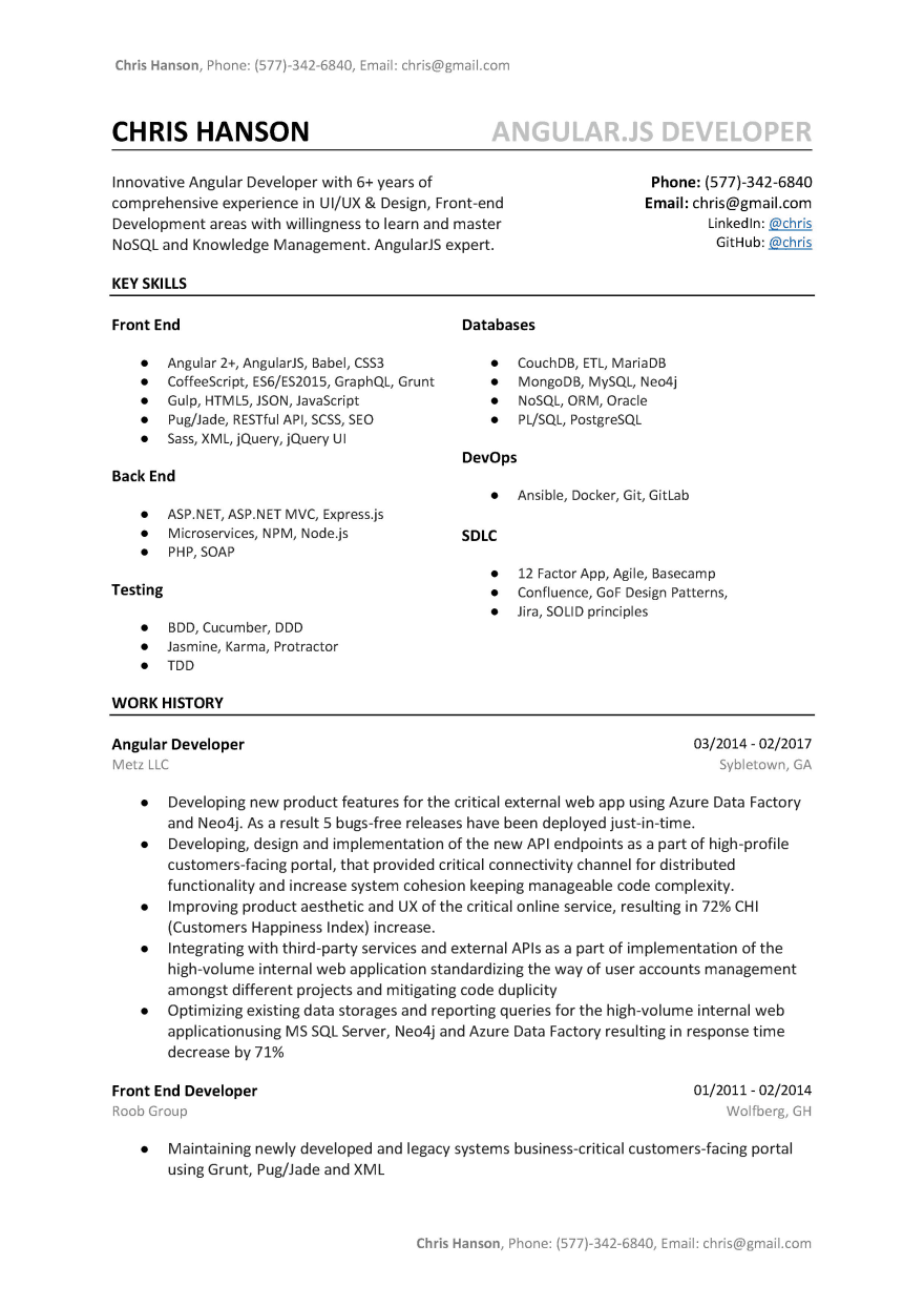 Angular Developer Resume Sample Template A B Tested Word