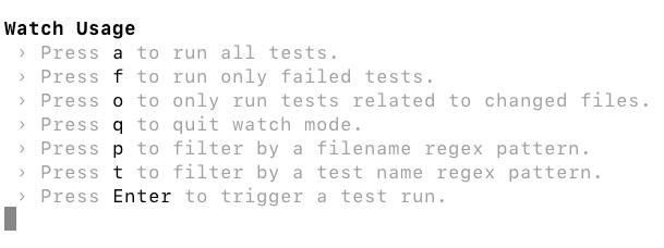 Screenshot of jest test runner options in watch mode