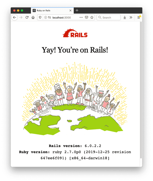 The page that shows Rails is running. My Rails version is 6.0.2.2 and Ruby version 2.7.0.
