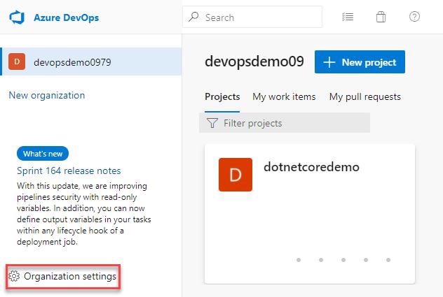 Azure DevOps Organisation Home Page
