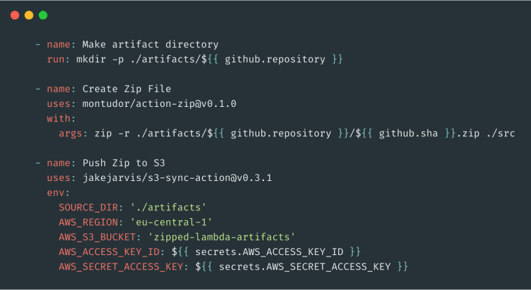 YAML for pushing artifacts to S3