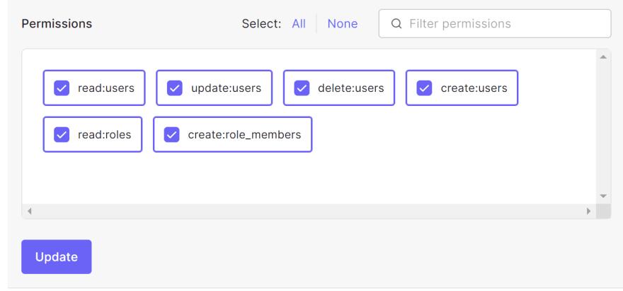 Screenshot, setting up permissions.