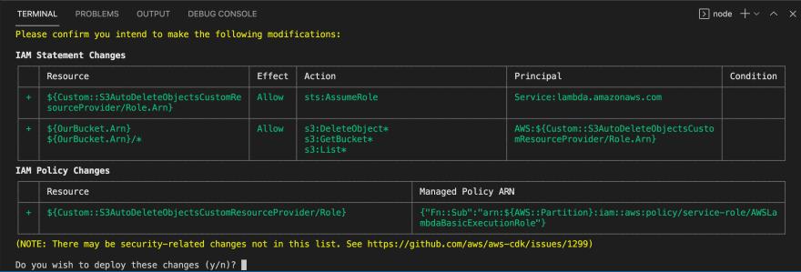 Confirm IAM changes when running cdk deploy