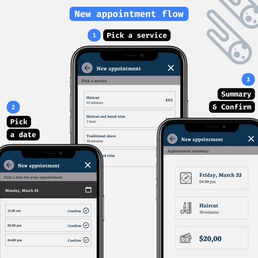 Formal Barber booking app - New appointment flow including three screens: Pick a service, Pick a date, and confirm your reservation