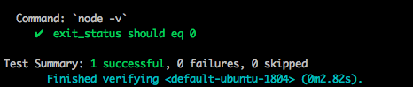 After running kitchen verify I get a Test Summary showing in green text 1 successful test and with the exit_status checked off as passing the test.