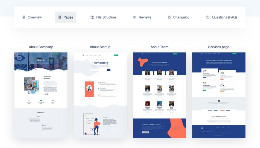 Themesberg new product pages section