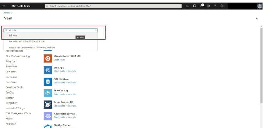 Screen capture for search box of azure marketplace