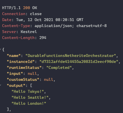 Netherite Local Function execution