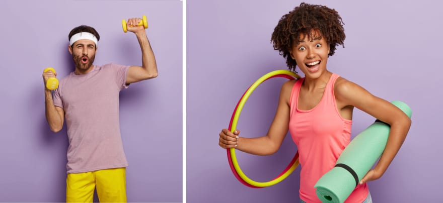 man lifting weights – women ready for aerobics