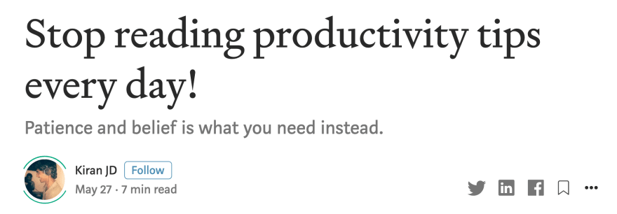 Article: Stop reading productivity tips every day