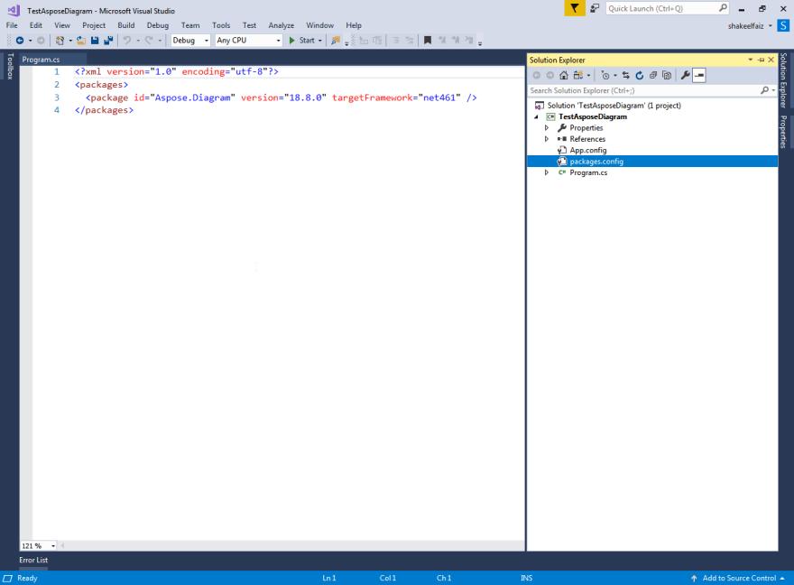 Install Aspose Diagram Using Nuget And Create Microsoft Visio