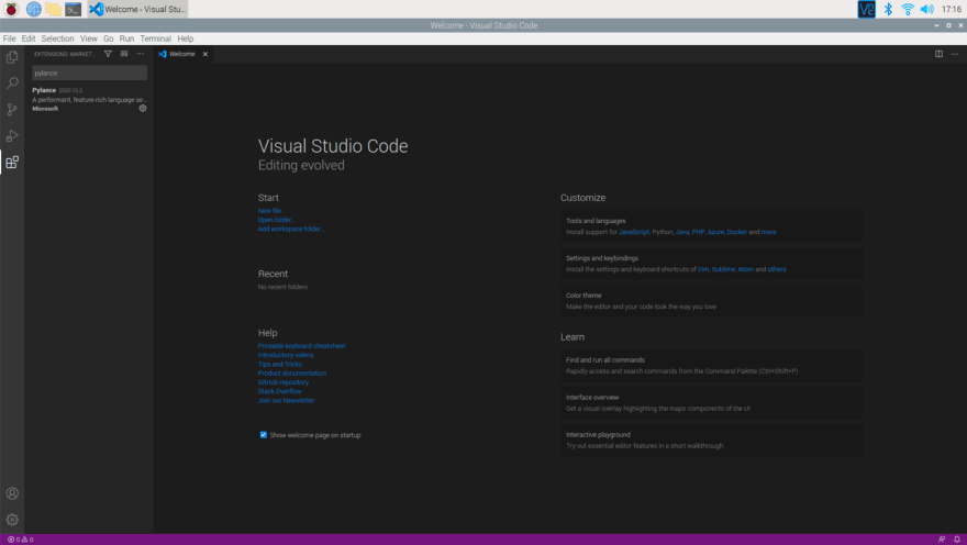 Run Visual Studio Code on a Raspberry Pi