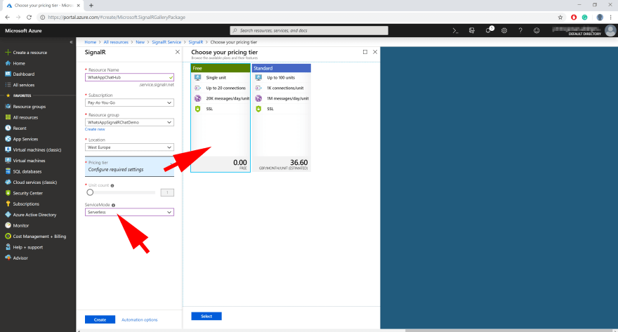 screenshot showing azure signalr service creation