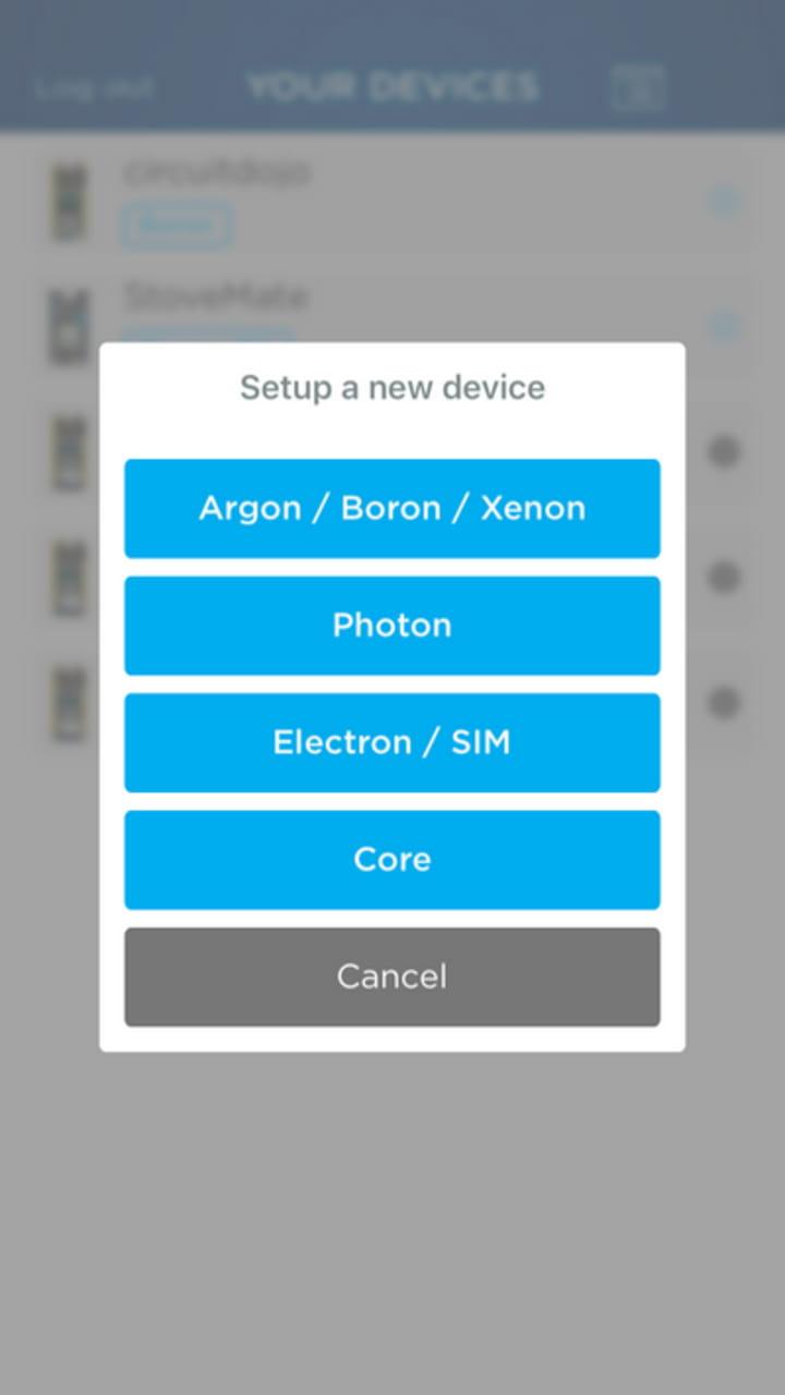 Particle Setup App Board Choice