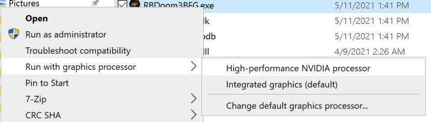 Use the right-click menu to set the GPU