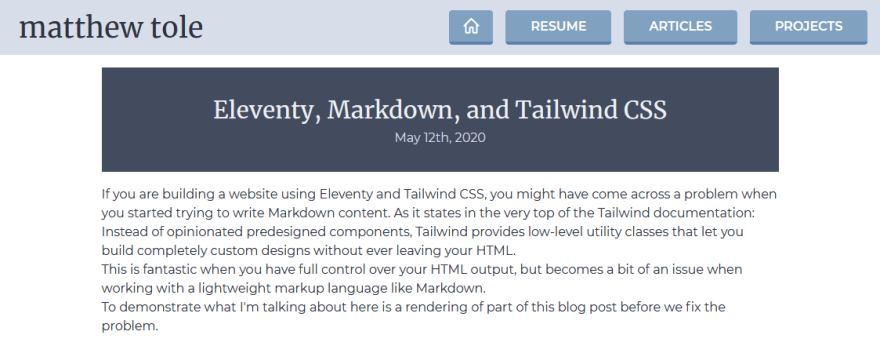 Screenshot of unstyled blog post