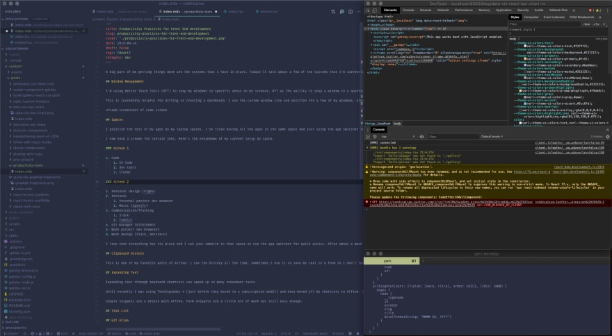 vs code, dev tools, iterm2 on screen
