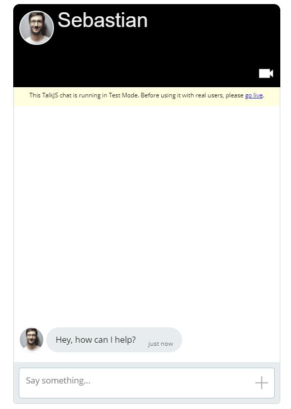 Screenshot of chat with custom UI