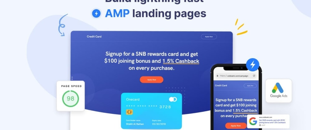 Cover image for AMP Driven Landing Page in Minutes