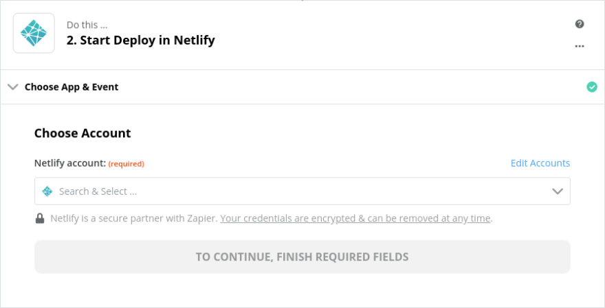 Choose your Netlify account