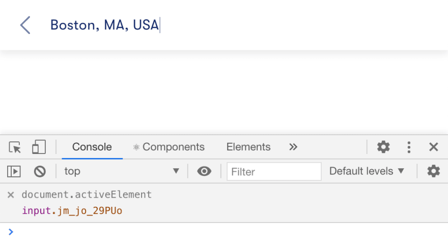 Using Chrome DevTools live expression to check which element is in focus