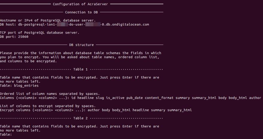 Configuration of AcraServer: database