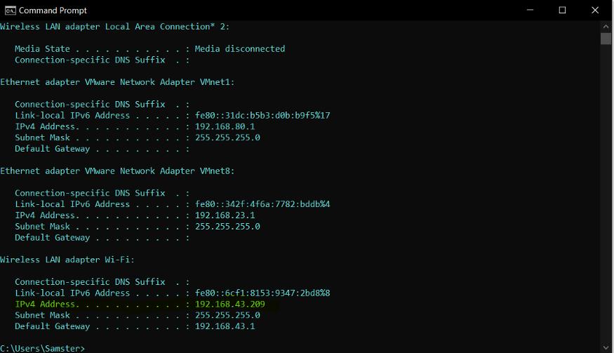 IPV4 address in windows cmd