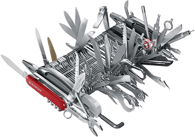 Over-the-top Swiss army knife. A visual aid depicting not ideal, the convoluted application that still is useful
