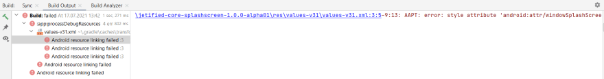 error: style attribute 'android:attr/windowSplashScreenAnimatedIcon' not found