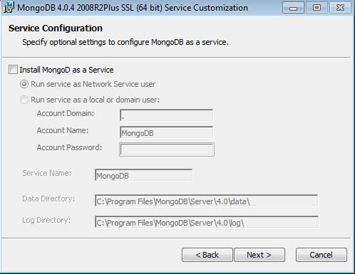 Mongo DB installer windows decoche as services option
