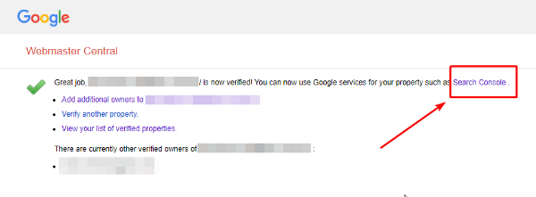 Let's click on Search console to start submitting your sitemap to Google.