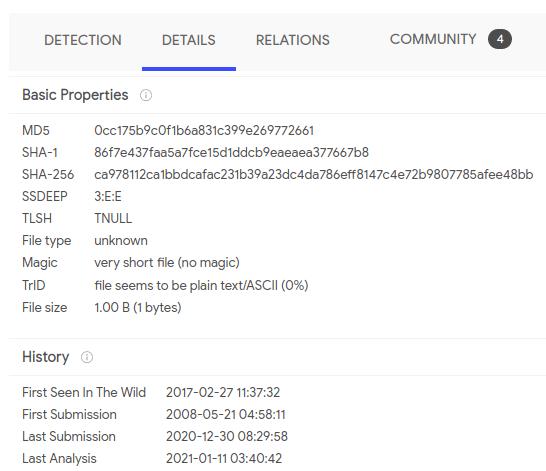 VirusTotal details