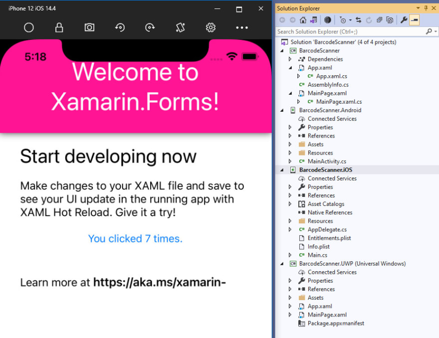 Xamarin.Forms iOS app