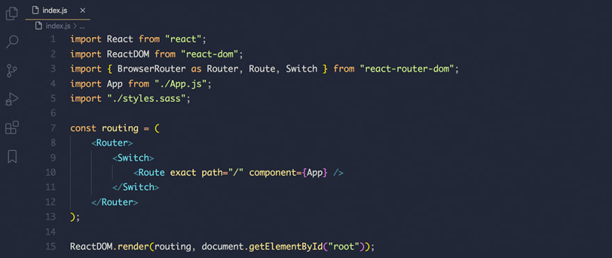 React code snippet with the Ayu - Mirage theme