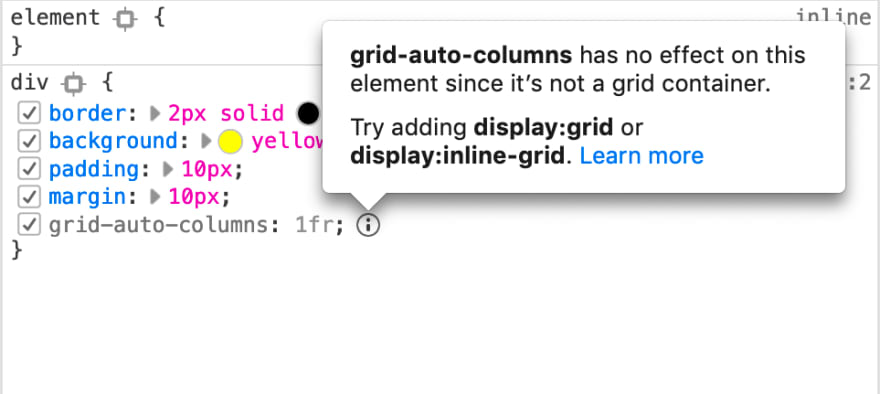 Example of an inactive CSS grid property used on a non grid container