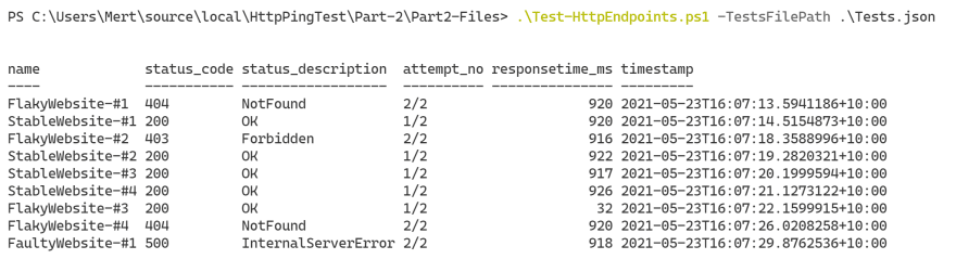 Part-2 Sample Successful Output 1
