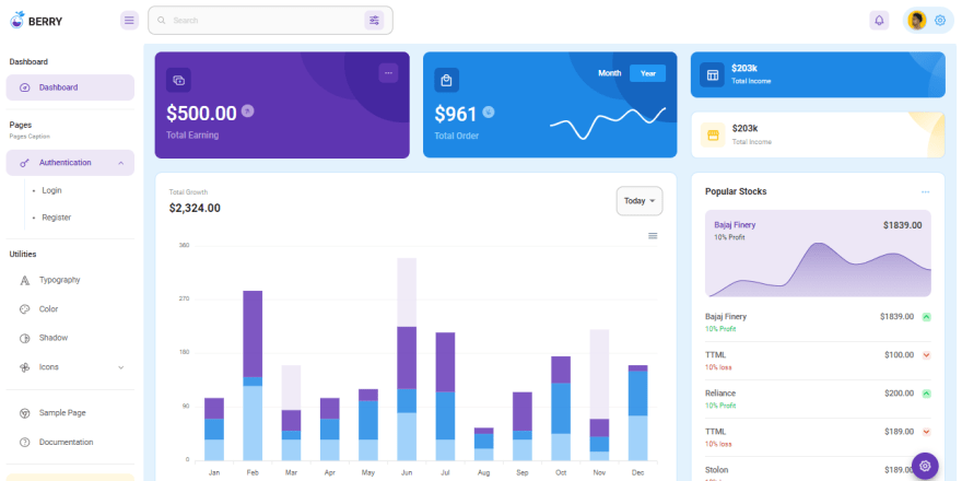 React Node JS Berry - Open-source React Dashboard crafted as a full-stack project with a Node JS Backend.