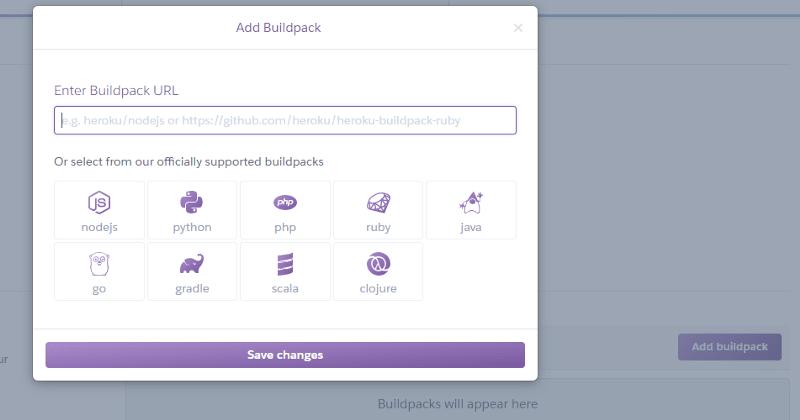 Select Node.Js Buildpack