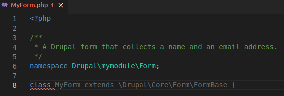 Copilot suggests class that complies with Drupal standards