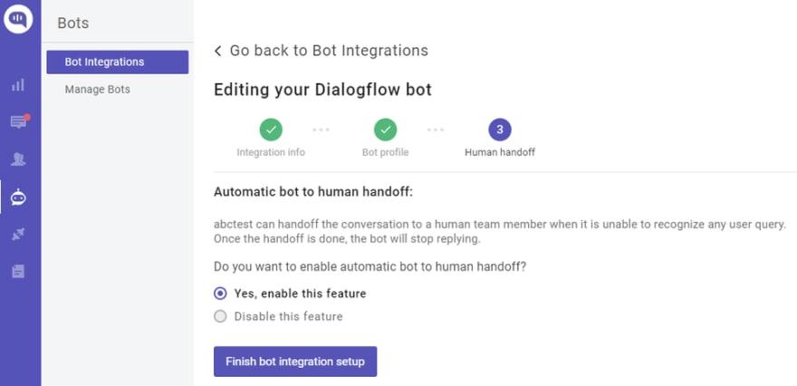 Kommunicate ready to use Bot to Human handoff settinng