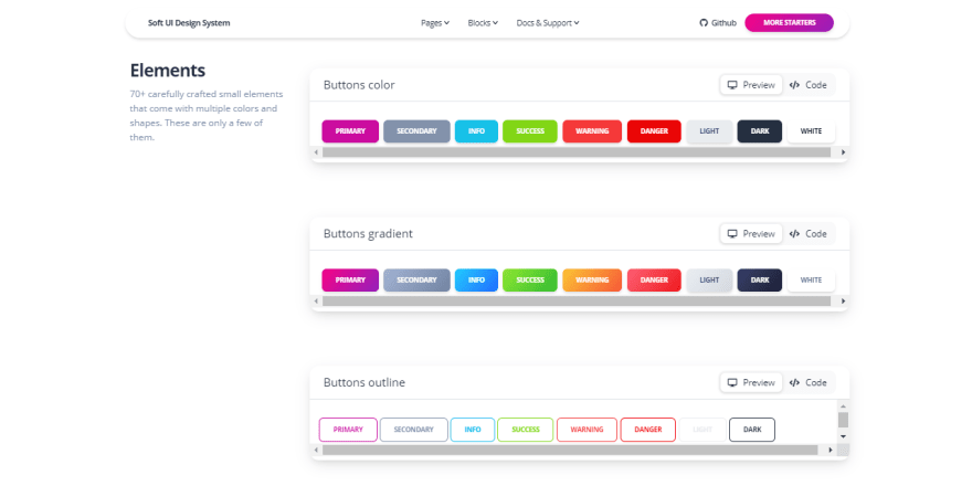 Soft UI Design System - Colorful Buttons.