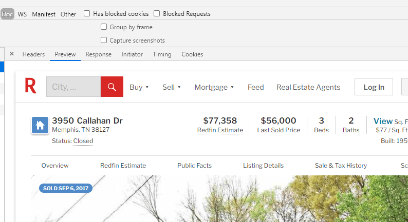 scraping Redfin Doc page
