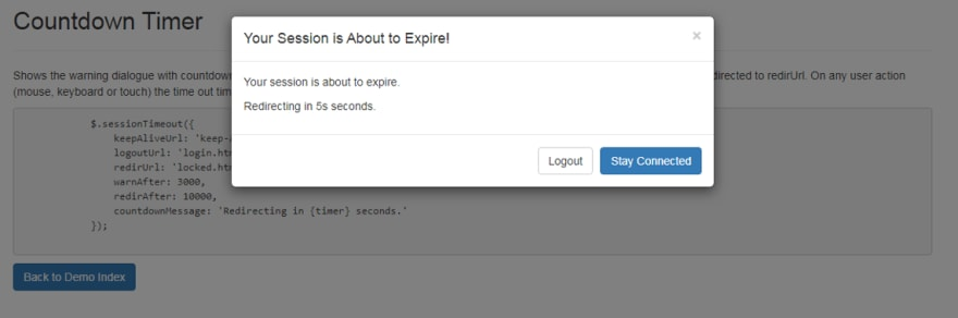 Bootstrap Session Timeout Modal Example