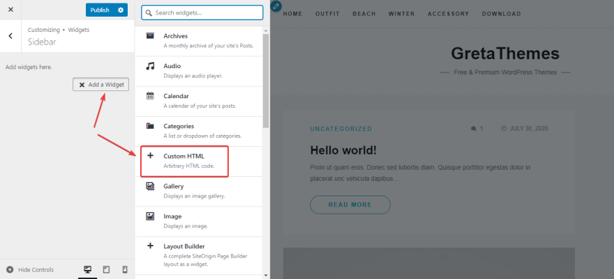 Add a widget in the Customizer of WordPress