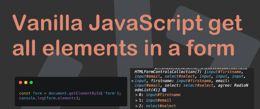 Cover image for Vanilla JavaScript get all elements in a form