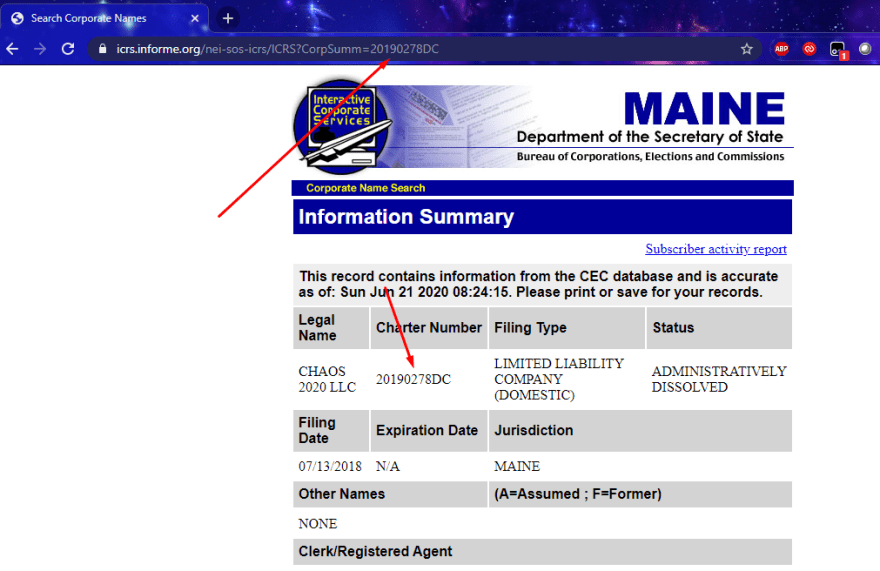 maine secretary of state details page