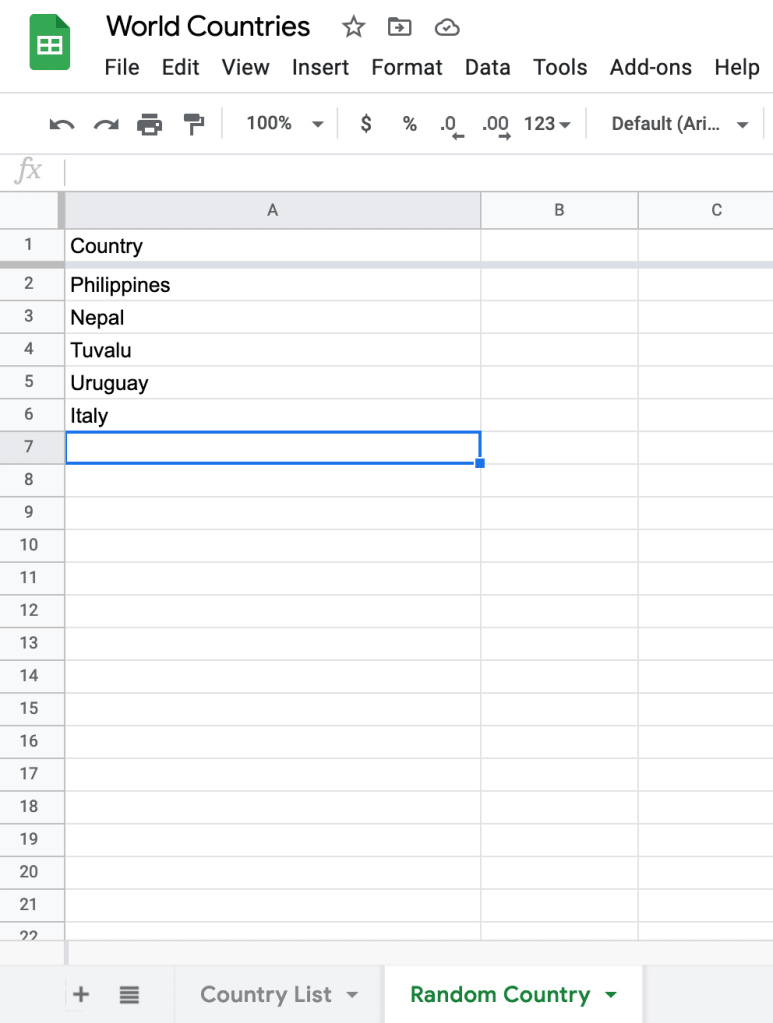 Randomly selected countries
