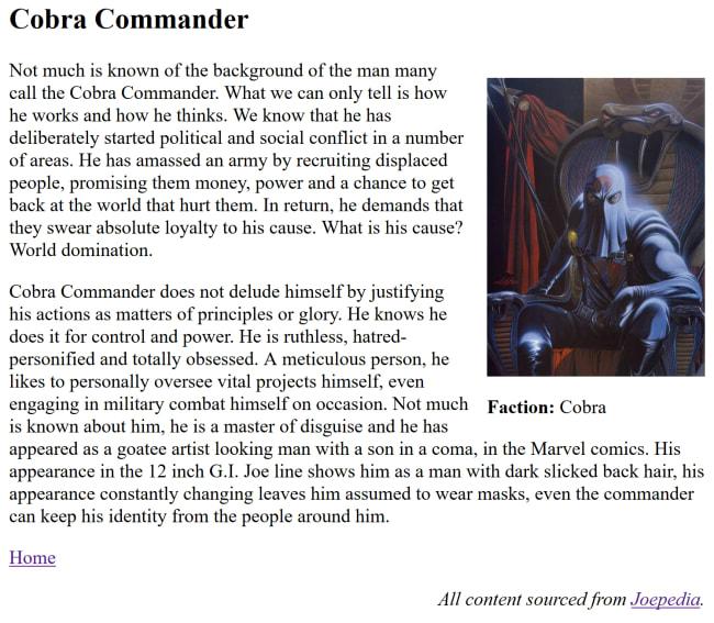 Cobra Commander page